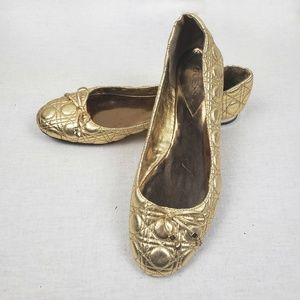 Guess metallic gold quilted ballet flats size 8.5M